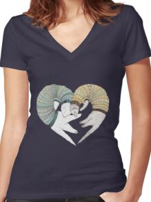 heart of couple Women's Fitted V-Neck T-Shirt