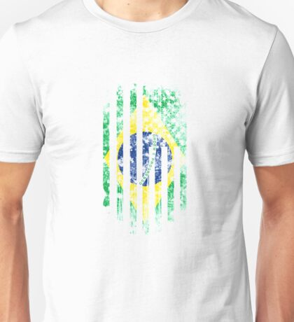 Brazil and America Flag Combo Distressed Design Unisex T-Shirt