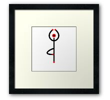 Stick figure of tree yoga pose. Framed Print
