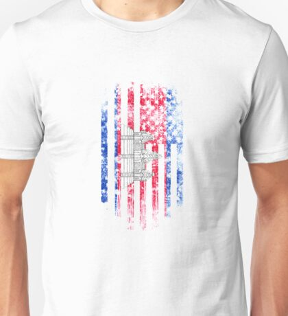 Cambodia and America Flag Combo Distressed Design Unisex T-Shirt