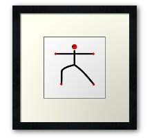 Stick figure of warrior 2 yoga pose. Framed Print
