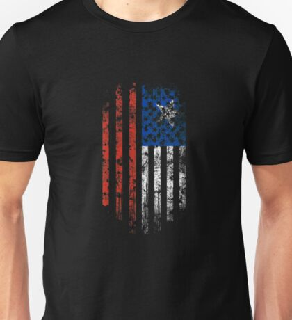 Chile and America Flag Combo Distressed Design Unisex T-Shirt