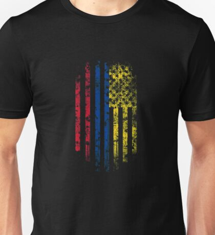 Colombia and America Flag Combo Distressed Design Unisex T-Shirt