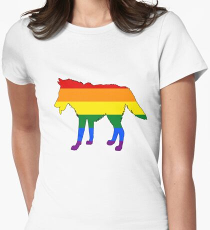 Rainbow Wolf Womens Fitted T-Shirt