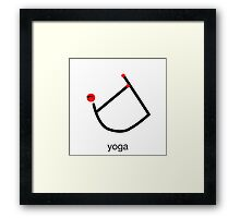 Stick figure of bow yoga pose with yoga text. Framed Print