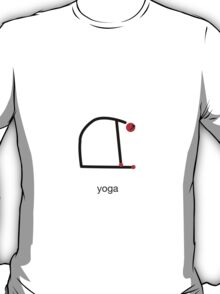 Stick figure of camel yoga pose with yoga text. T-Shirt