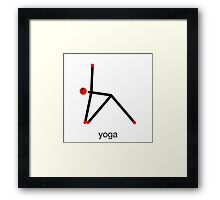Stick figure of triangle yoga pose with yoga text. Framed Print
