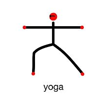 Stick figure of warrior 2 pose with yoga text. by Mindful-Designs