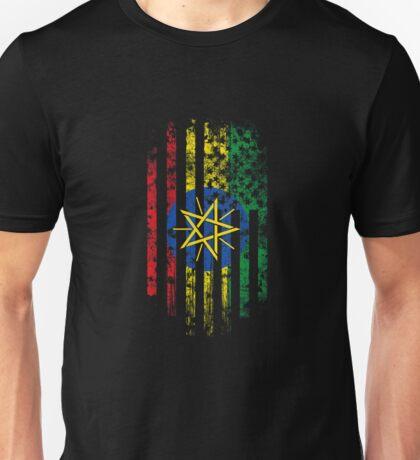 Ethiopia and America Flag Combo Distressed Design Unisex T-Shirt