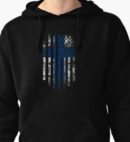 Finland and America Flag Combo Distressed Design Pullover Hoodie