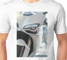 white motorcycle close up photo Unisex T-Shirt