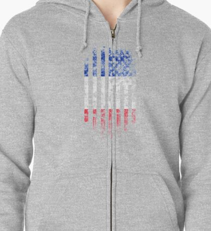 France and America Flag Combo Distressed Design Zipped Hoodie