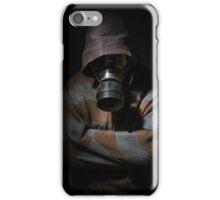 Man in gasmask against dark background iPhone Case/Skin