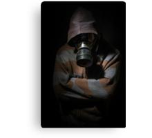 Man in gasmask against dark background Canvas Print