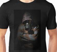 Man in gasmask against dark background Unisex T-Shirt