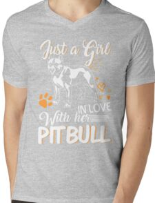 Just Girl In Love With Her Pitbull Mens V-Neck T-Shirt