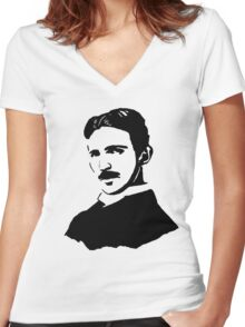 Nikola Tesla Stencil Women's Fitted V-Neck T-Shirt