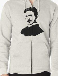 Nikola Tesla Stencil Zipped Hoodie