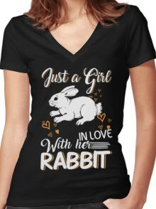 Just Girl In Love With Her Rabbit Women's Fitted V-Neck T-Shirt