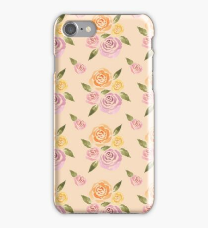 Sweet Roses on a Peach Background ~ Handpainted Watercolor Flowers iPhone Case/Skin