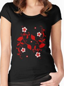 Floral Print - Design 2 Women's Fitted Scoop T-Shirt