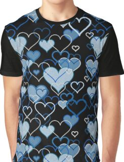 Blue hearts pattern Graphic T-Shirt