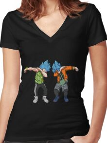 Goku and Vegeta Dabs - Dragon Balls Anime T shirt Women's Fitted V-Neck T-Shirt