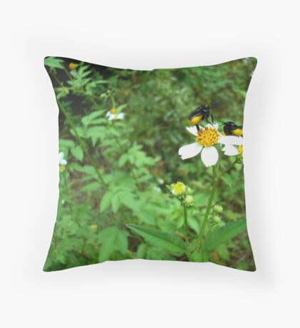 BLACK BEES WITH BUSTLES Throw Pillow