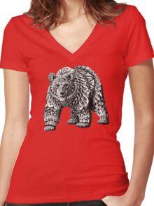 Ornate Bear Women's Fitted V-Neck T-Shirt