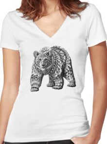 Ornate Bear Women's Fitted V-Neck T-Shirt