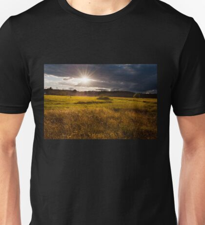 Breathtaking sunset above meadow  Unisex T-Shirt