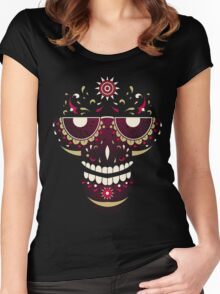 Skull Smiling Face Women's Fitted Scoop T-Shirt
