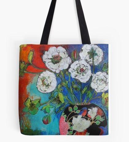 Asian Vase With Flowers Tote Bag