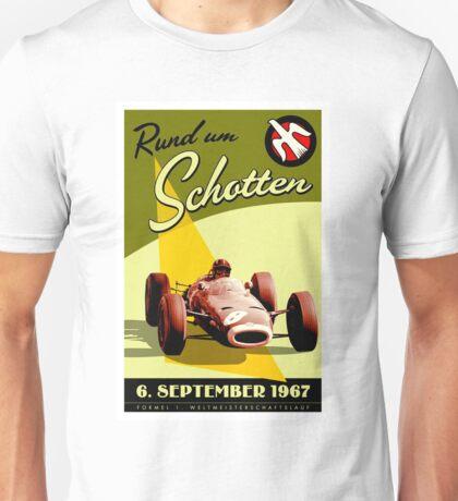 RUND UM SCHOTTEN; Vintage Auto Racing Print Unisex T-Shirt