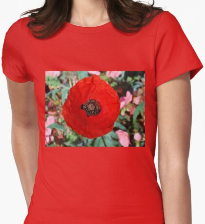Poppy Among the Autumn Leaves Womens Fitted T-Shirt
