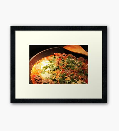Pan food with meat, eggs, and vegetables. Framed Print