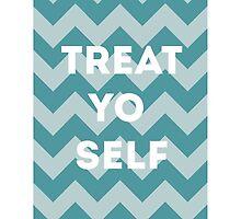 treat yo self - blue by timberlaking