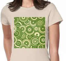Mod Target concentric circles repeating pattern, moss green Womens Fitted T-Shirt