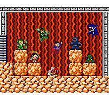 8-bit Justice League/Mega Man Mash-Up Photographic Print
