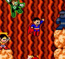 8-bit Justice League/Mega Man Mash-Up Sticker