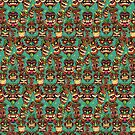Tiki Head Repeating Pattern by Brian Allen