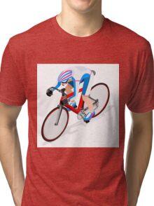 Cycling Track Sports 3D Isometric Tri-blend T-Shirt