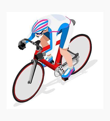 Cycling Track Sports 3D Isometric Photographic Print