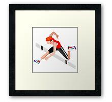 Isometric Athletics Hurdle Jump Sports Framed Print