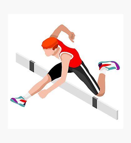 Isometric Athletics Hurdle Jump Sports Photographic Print