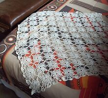 Star squares crochet table cloth by Maree  Clarkson