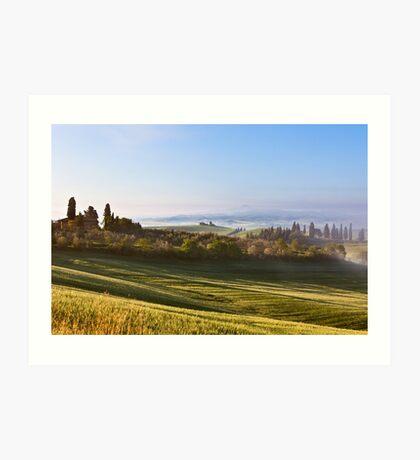 Morning fog view in Tuscany Art Print