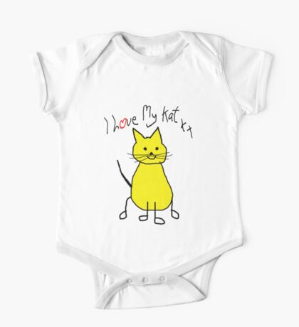 I Love My Kat. Cat Humor. Funny Cat shirt One Piece - Short Sleeve