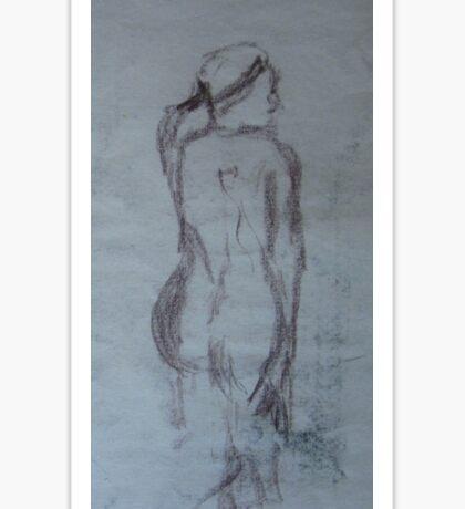 Woman Kneeling, gestural drawing Sticker
