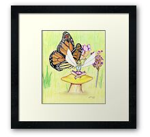 """Butterfly & Fairy"" coloured pencil drawing Framed Print"